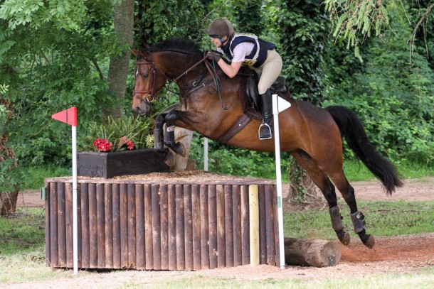 Elly competing with Proper Legend.Well fitting saddle devon.
